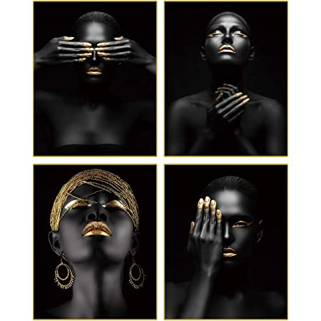 """African American Wall Art Painting Black Woman Fashion Pop Gold Earrings Necklace Black Set of 4 (8""""X10"""" Canvas Picture) Pretty Girl Room Poster Art Painting Bedroom or Room for Home Decor No Frame"""