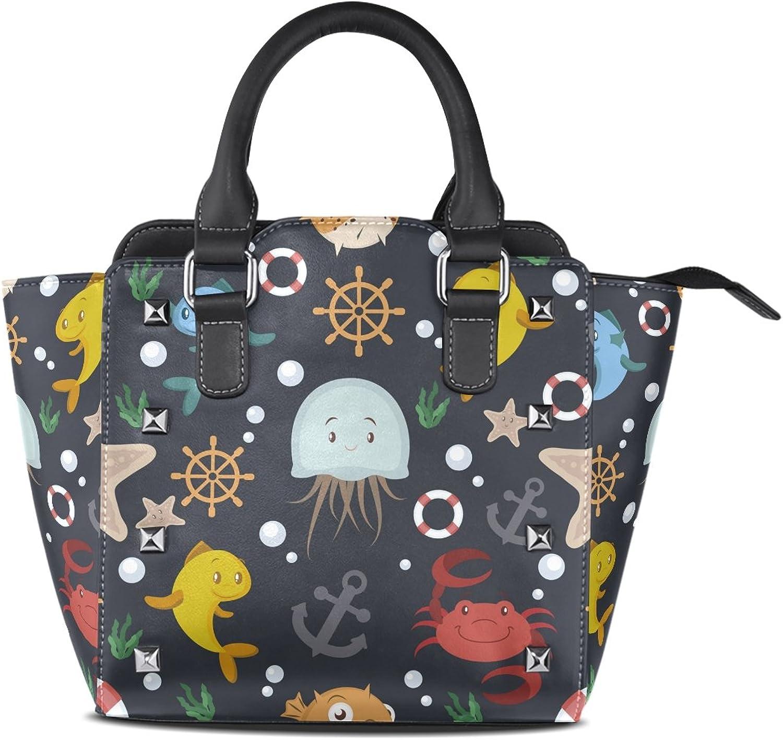 My Little Nest Women's Top Handle Satchel Handbag Sealife Ladies PU Leather Shoulder Bag Crossbody Bag