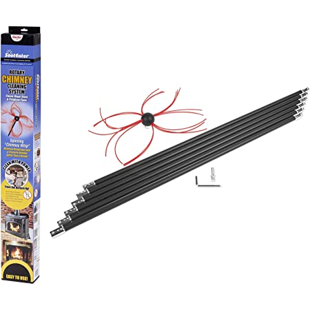 Gardus RCH205-B SootEater Rotary Chimney Cleaning System, Cleans Open Chimneys up to 18' with 6 Flexible 3' Rods, Includes Trim-to-Fit Spinning Chimney Whip