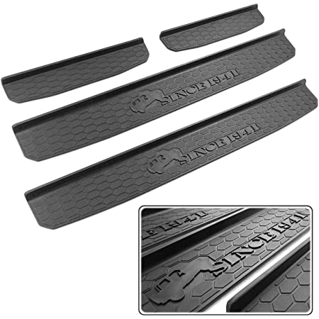 JL HIGH FLYING for Jeep Wrangler Unlimited Rubicon Sahara Sport//Sport S 2019 2020 Stainless Steel Side Inner Door Sill Scuff Plate Pedal Guard Protector Car Accessories 4PCS