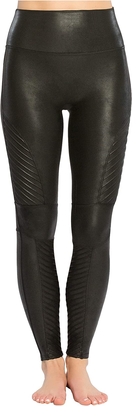Spanx Moto Control faux leather black shaping leggings with tummy control