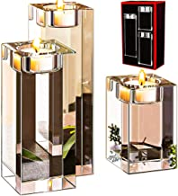 Le Sens Amazing Home Large Crystal Candle Holders Set of 3, 3.1/4.7/6.2 inches Height, Elegant Heavy Solid Square Tealight Holders Set Centerpieces for Home Decoration, Wedding and Anniversary