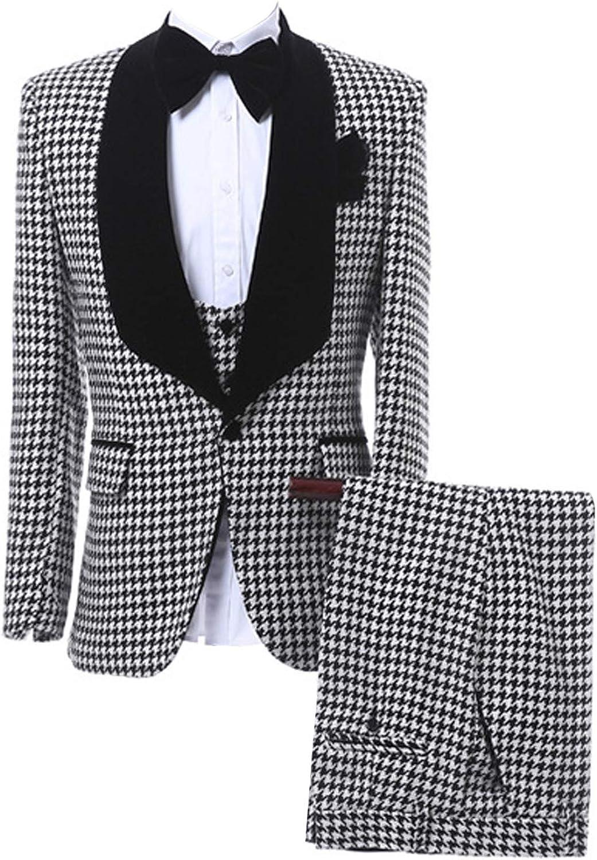 Classic Men's 3 Pieces Plaid Wedding Suit Houndstooth Blazer Vest Pants