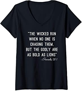 Womens Wicked Run When No One Is Chasing But Godly Bold As Lions V-Neck T-Shirt
