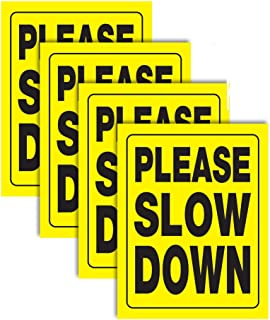 """Accelerated Intelligence Inc. Please Slow Down Yellow Yard Sign 18"""" x 24"""" 