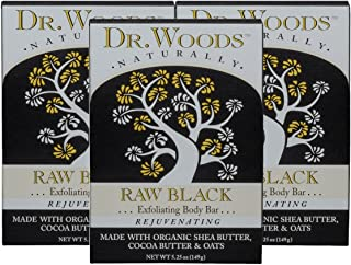 Dr. Woods Raw Black Exfoliating Body Bar with Organic Shea Butter, 5.25 oz (Pack of 3)
