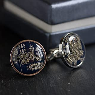 Dark Blue Circuit Board Cufflinks, unique gift for him