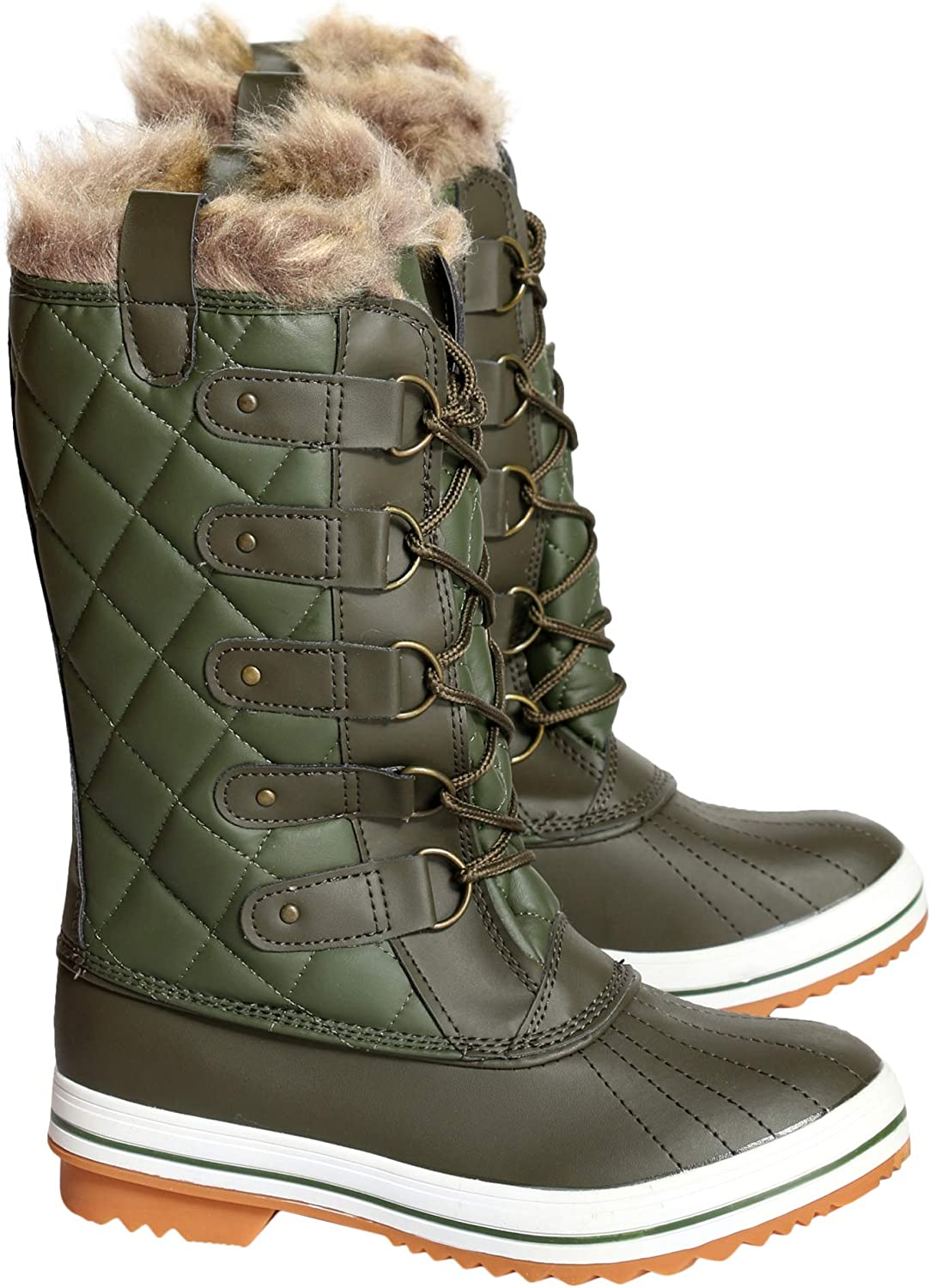 Nature Breeze Womens Casual Round Toe Water Resistant Mid Calf Snow Boot - Olive