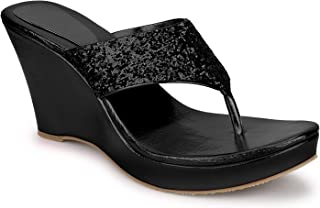 SHOFIEE Women's Glitter Wedge, Party WEAR & Casual Wedges