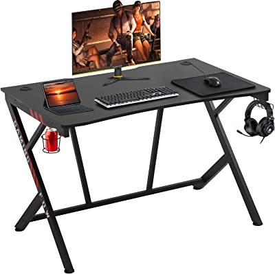 """Gaming Desk 45"""" W x 29"""" D Home Office Computer Desk Racing Style Study DeskExtra Large Modern Ergonomic PC Carbon Fiber Writing Desk Table with Cup Holder Headphone Hook"""