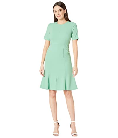 Donna Morgan Crepe Short Split Sleeve Fit and Flare Dress (Mint) Women
