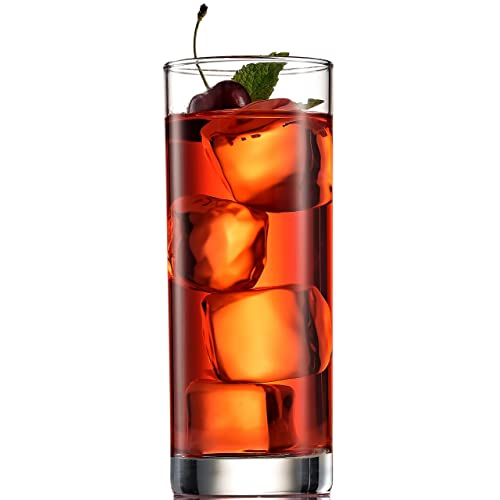 Paksh Novelty Italian Highball Glasses [Set of 6] Clear Heavy Base Tall Bar Glass - Drinking Glasses for Water, Juice, Beer, Wine, Whiskey, and Cocktails | 13 Ounce Cups