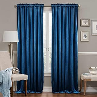 RYB HOME Flannel Heavy Duty Curtain Panels with 2 Rod Pockets Luxury Indoor Decoration Extra Long Window Curtains Light Block Out Insulated Panels for Living Room, Royal Blue, 52 in by 108 in, 2 Pcs