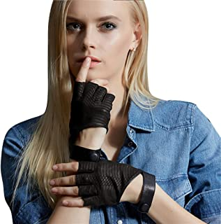 Sexy Fingerless Driving Leather Gloves Women Italian Nappa Cosplay Half Gloves