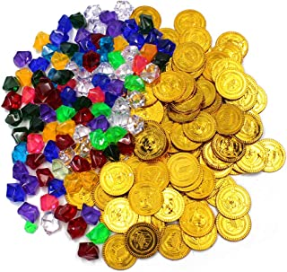 Super Cool 144 pack of Gold Plastic Pirate Coins Doubloons