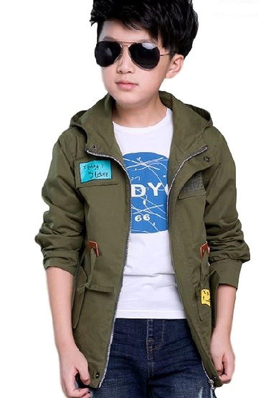 [Nana_Collection(ナナコレクション)] 秋 キッズ 子供 男の子 かっこいい フード ジッパー 上着 ジャンパー コート アーミーグリーン 170cm