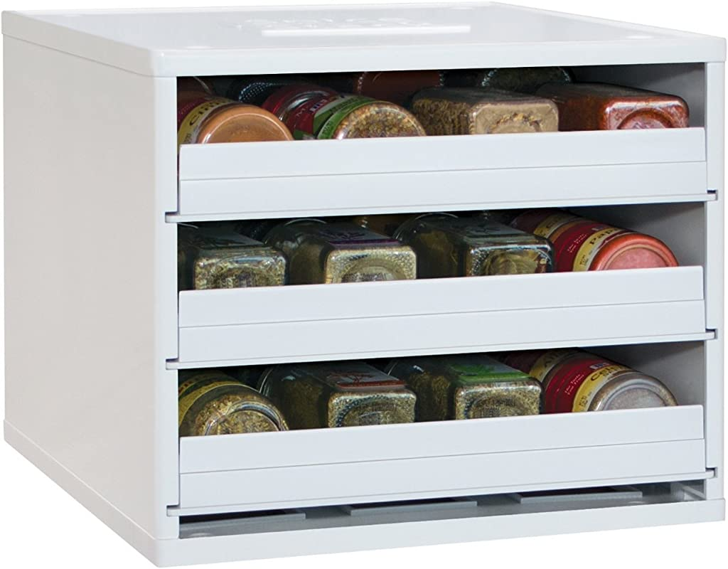 YouCopia Classic SpiceStack 24 Bottle Spice Organizer With Universal Drawers White