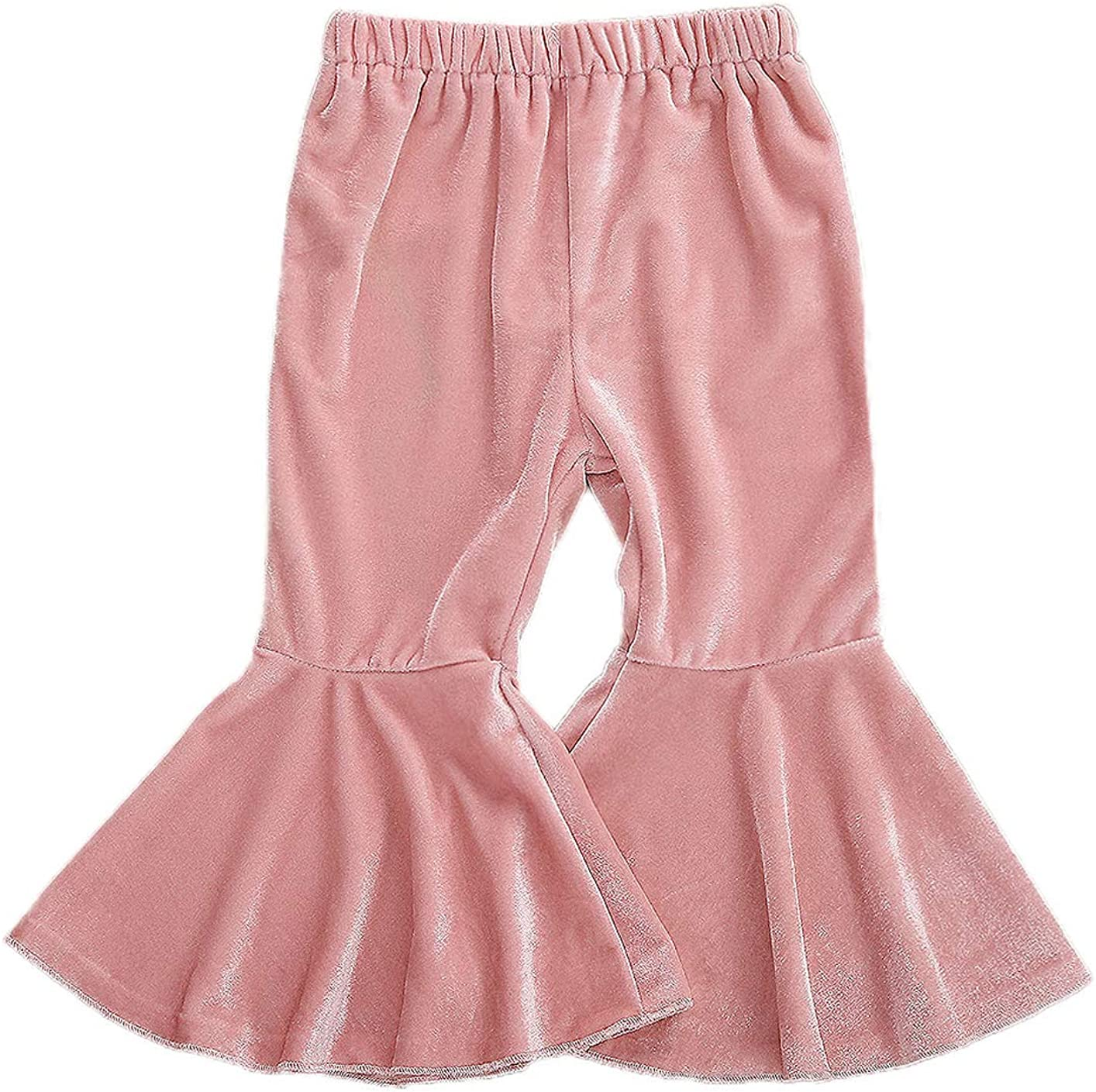 EYIIYE Toddler Girls Flare Pant Trouse Velvet Solid Max 48% OFF Color Ruffle excellence