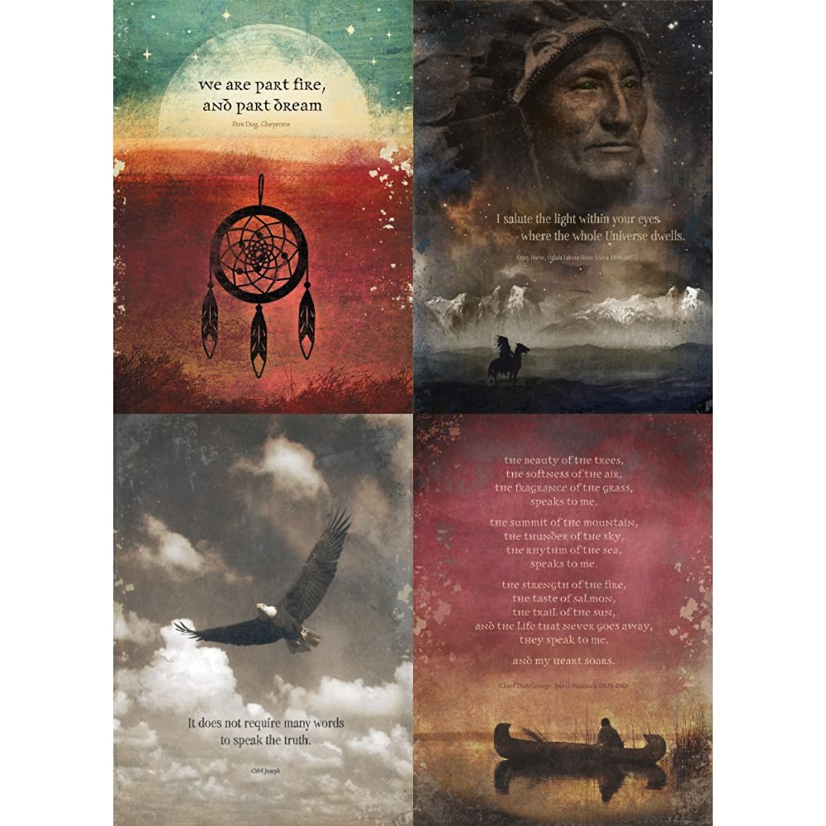 Tree-Free Greetings Native American Wisdom All Occasion Card Assortment, 5 x 7 Inches, 8 Cards and Envelopes per Set (GA31433)