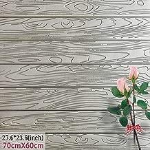 Waterproof Wood Wall Panels Self-Adhesive 3D Wall Paper Eco-Friendly XPE Foam Stick Tile Wall 23.6X27.6 inch (1, Grey)
