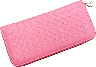 AM Landen Braided Synthetic Leather Zip Around Long Wallets Organizer (Pink)