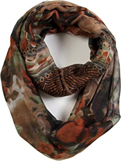 Romantic Rose Flower Print Lightweight Infinity Fashion Scarf & Head Wrap