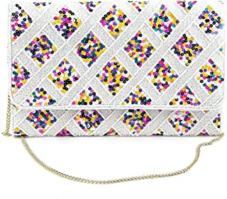 Odette White Embellished Pearly Sequin Clutch