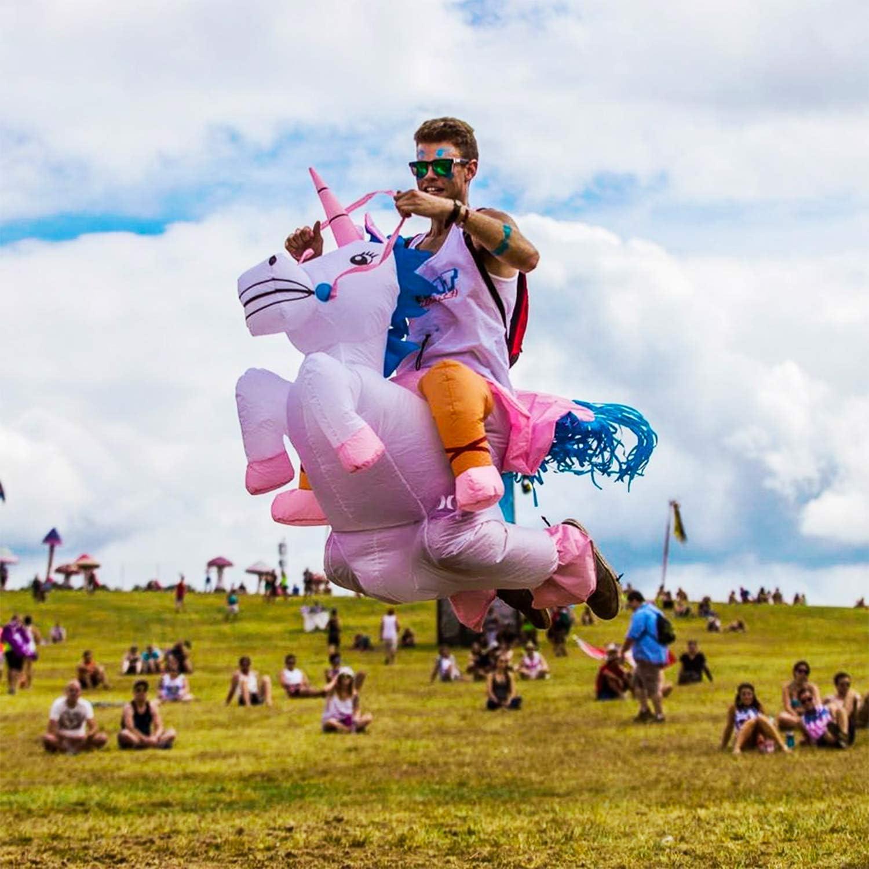 Traje Inflable Adultos para Fiesta Disfraz Hinchable con Bomba de Aire USB Conciertos Original Cup Halloween Unicornio