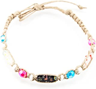 Hemp Anklet Bracelet with Puka Clam Shell Beads, Pink & Blue Beads, and Venetian Murano Glass Tubes