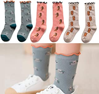 Girls Socks Boys Socks Newborn Baby Socks Cotton Knit Stocking High Rube Socks Ruffled Crew Sock for 1-12 Years Old 3 Pairs Animals Print for 1-3T