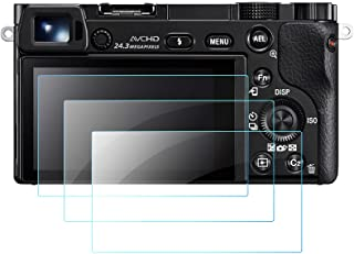 QIBOX Glass Screen Protector Compatible with Sony Alpha A6600 A6100 A6400 A6000 A5000 A6300 NEX-7 NEX-3N NEX-5 NEX-6L, 3-P...