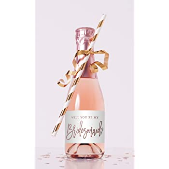 Will You Be My Bridesmaid Champagne Bottle Labels Gold Foil Bridesmaid Proposal Champagne Labels Bridesmaid Mini Champagne Bottle Labels Set of 16 Labels by Chicfetti