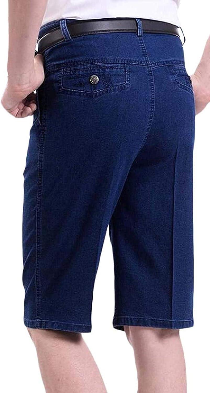 JNBGYAPS Men Cropped Pants Regular Fit Casual Lightweight Stretch Denim Shorts Jeans
