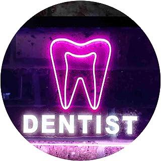 Dentist Service Open Illuminated Dual Color LED Neon Sign White & Purple 400 x 300mm st6s43-i0825-wp