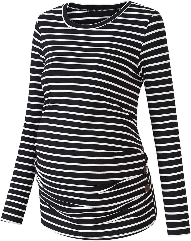 Alvivi Womens Long Max 47% OFF Sleeve Striped Maternity Tops Under blast sales Side Bu T-Shirt