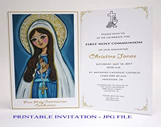 Girl first communion invitation girl Our Lady Virgin Mary Boy first holy communion invitation boy Religious invitation First communion invites Spanish invitation First communion invitation printable