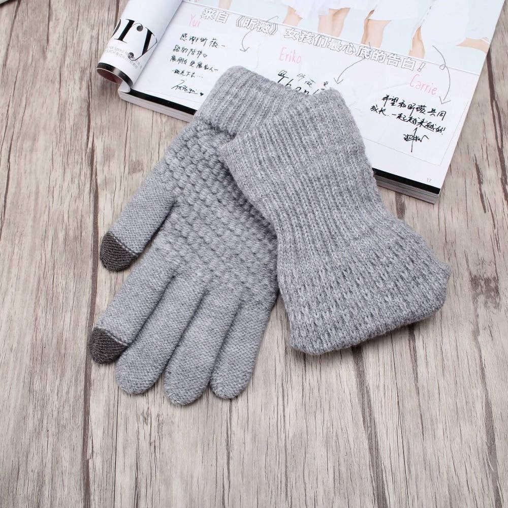 YHYHNE Gloves Women Men Warm Winter Knitted Full Finger Gloves Mittens Girl Female Solid Woolen Gloves Screen Cold Gloves (Color : Q1 Velvet Navy Blue)