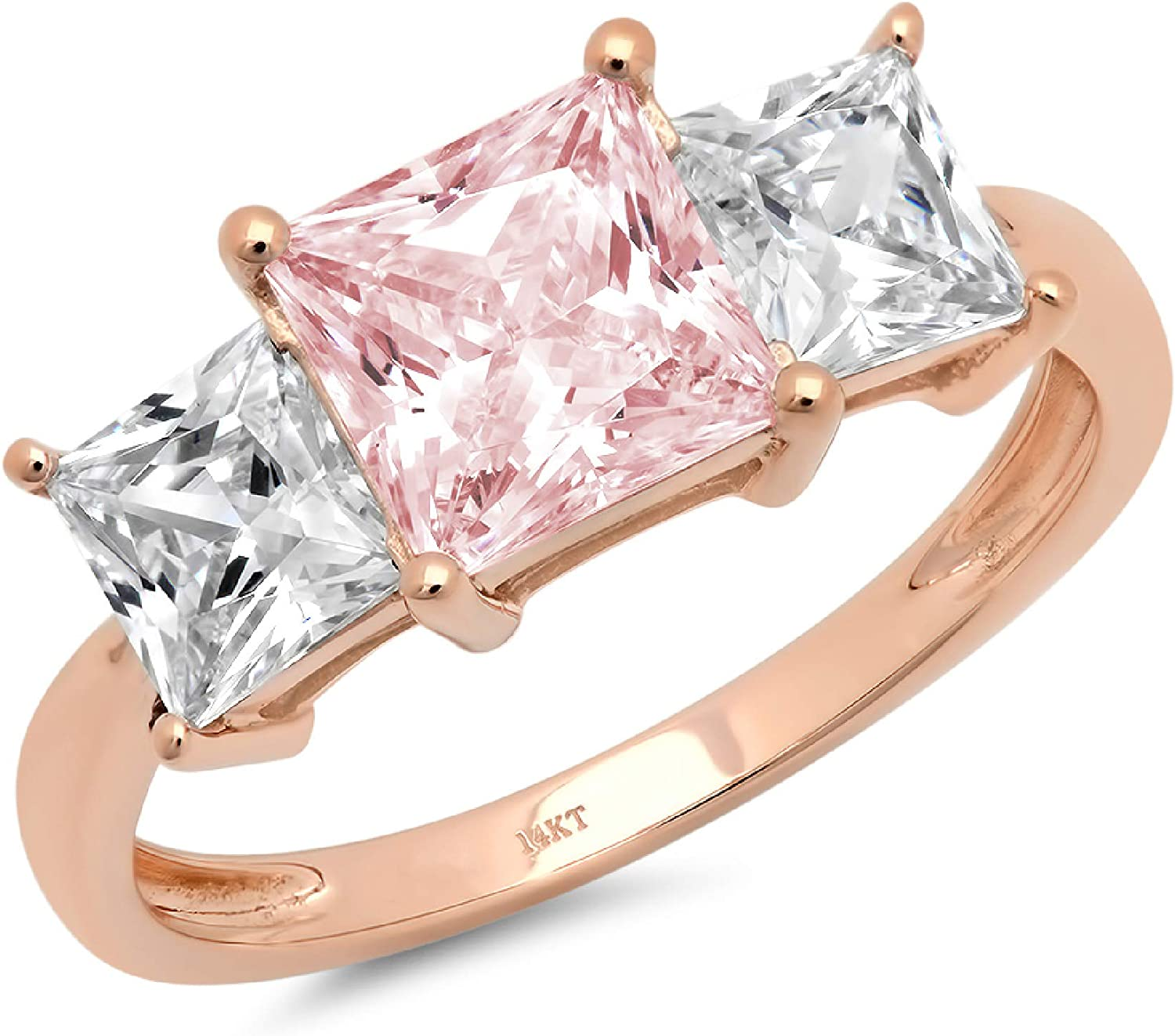 2.94ct Brilliant Princess Cut 3 Stone Solitaire with Accent Pink Ideal VVS1 Simulated Diamond CZ Engagement Promise Statement Anniversary Bridal Wedding Ring 14k Rose Gold