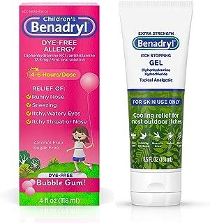 Benadryl Anti-Itch Gel, Diphenhydramine HCI Topical Analgesic, 3.5 Fl. Oz (Pack of 1) with Children's Dye-Free Allergy Liquid with Bubble Gum Flavor, 4 fl. oz