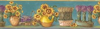 Wallpaper Border Blue Yellow Sunflower Pots Floral 7