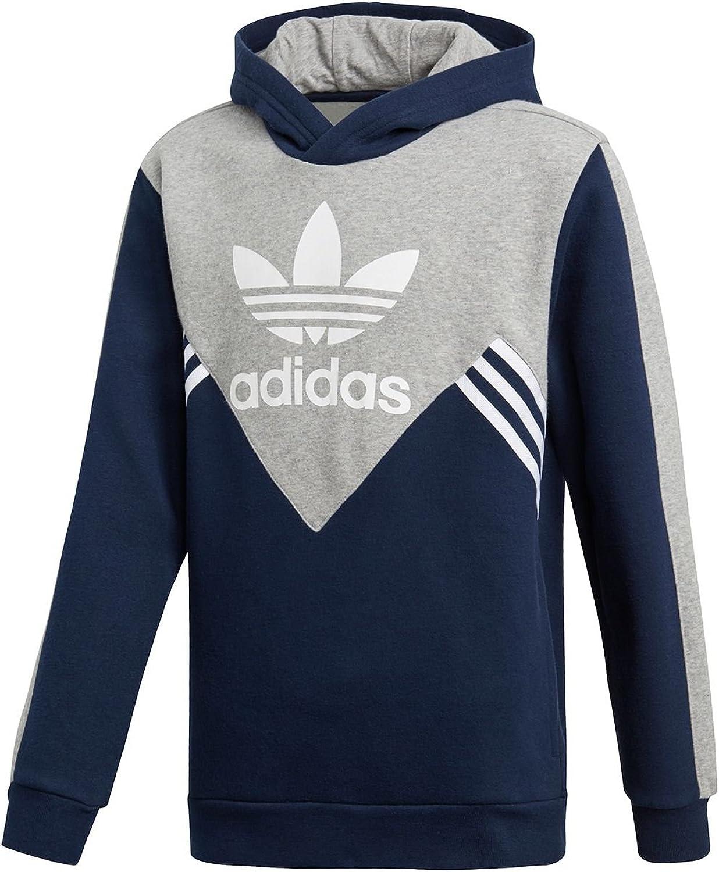 Adidas Originals Kids Boy's Zigzag Trefoil Hoodie (Little Kids Big Kids) Collegiate Navy Medium grau Heather Weiß Small