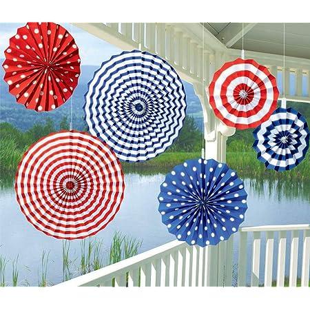 amscan - Guirnaldas Decorativas de Papel, Color Azul, Rojo y Blanco