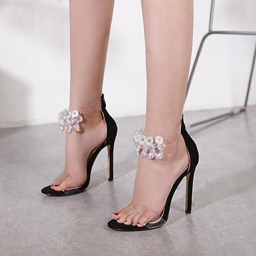ZHUDJ Stilettos Chaussures Diahommet Transparent Stilettos Toe