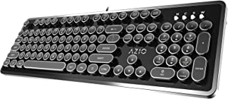 Azio MK-RETRO-03 USB Typewriter Inspired Mechanical Keyboard (Blue Switch) Black and Silver