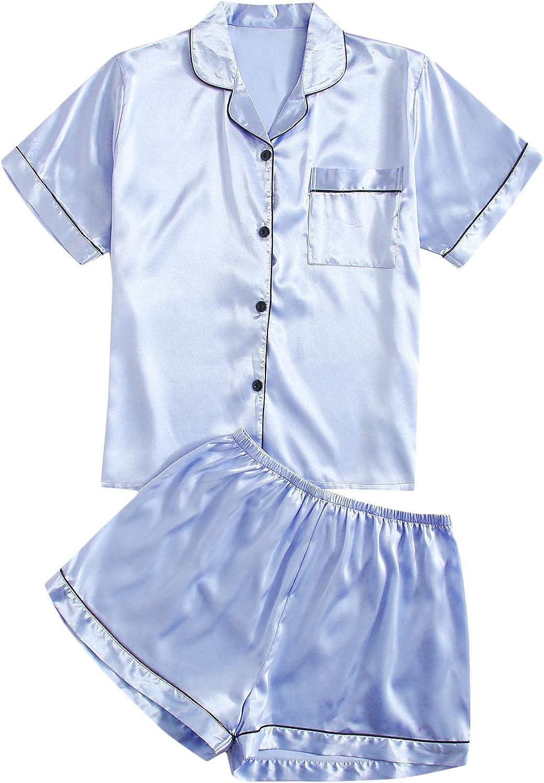 SOLY HUX Women's Short Sleeve Sleepwear Button Down Shirt and Shorts Pajama Set