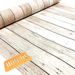 GLEOOD はがせる 防水 壁紙 シール クロス シート 45 cm 幅 10 m 取付 道具 付 (木目 アンティーク ホワイト)