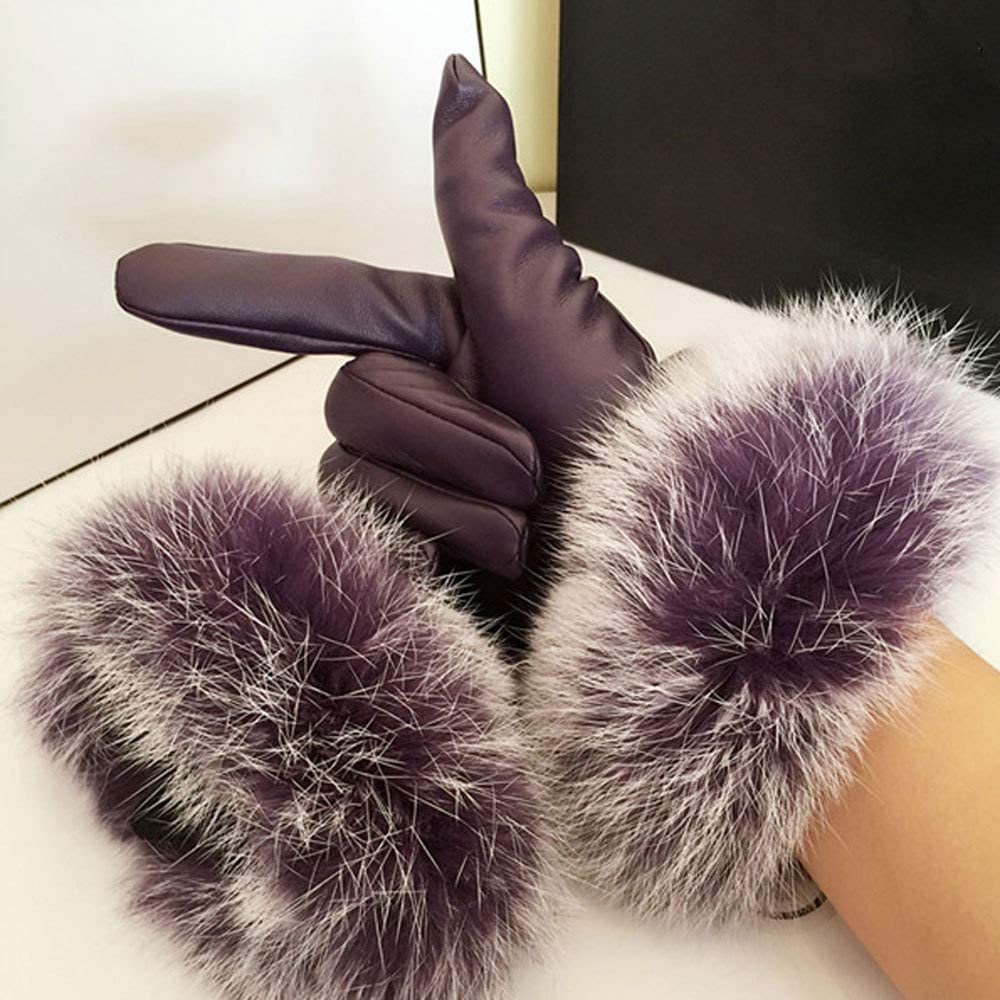 XINYU Women's Leather Gloves Winter Warm Touch Screen Cute Real Rabbit Hair Warm Linied Thick Windproof Mittens for Ladies Outdoor Cycling Running,Purple