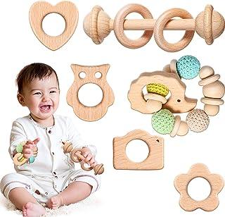 6 قطع خشبية الطفل عضاضة مجموعة ألعاب خشخشة خشبية حلقة مولار عضاضة خشب الزان التسنين اللعب لاستيعاب ألعاب الرضع طفل صغير