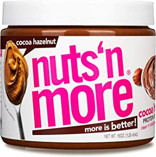 Nuts 'N More Cocoa Hazelnut Butter Spread, All Natural High Protein Nut Butter Healthy Snack, Omega 3's, Antioxidants, Low Carb, Low Sugar, Gluten-Free, Non-GMO, no preservatives,16 oz Jar