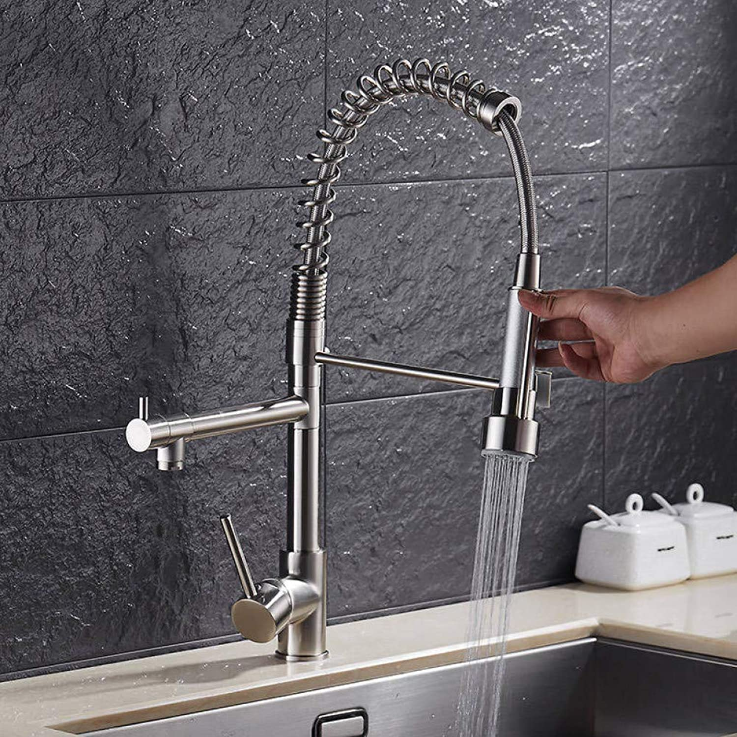 YHSGY Kitchen Taps Luxury gold color New Kitchen Faucet Tap Two Swivel Spouts Extensible Spring Mixer Tap gold Pull Out Down Kitchen Sink Faucet